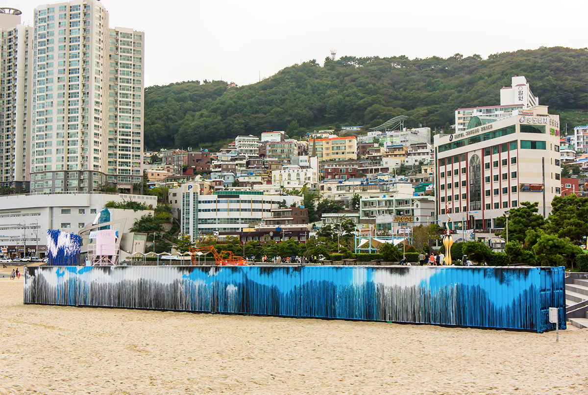 Untitled (Song-Do beach), 2013, acrylic on steel shipping containers, 2.4 × 18 × 4.8m